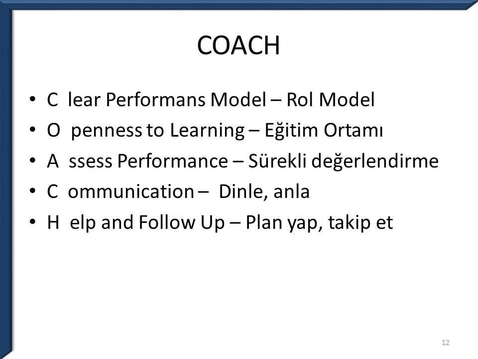 COACH C lear Performans Model – Rol Model