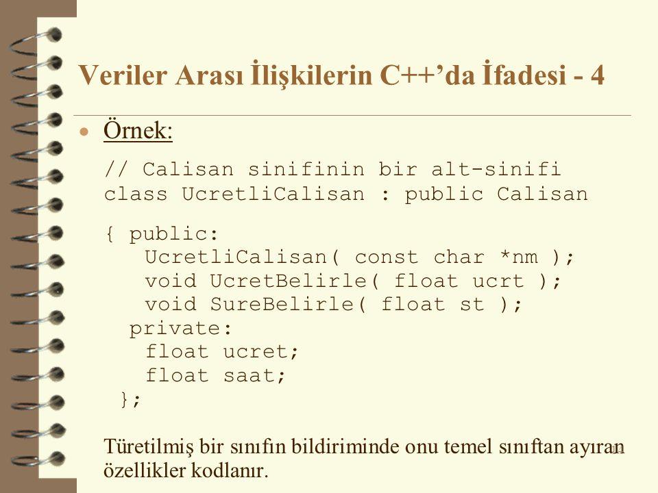Veriler Arası İlişkilerin C++'da İfadesi - 4