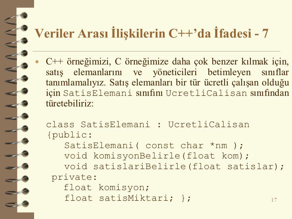 Veriler Arası İlişkilerin C++'da İfadesi - 7