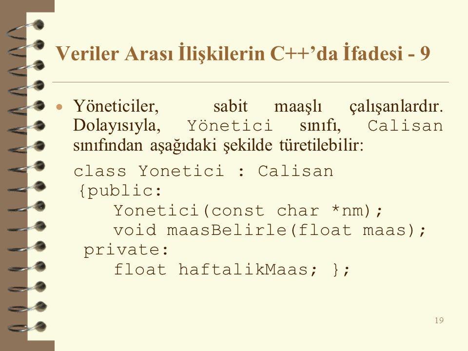Veriler Arası İlişkilerin C++'da İfadesi - 9