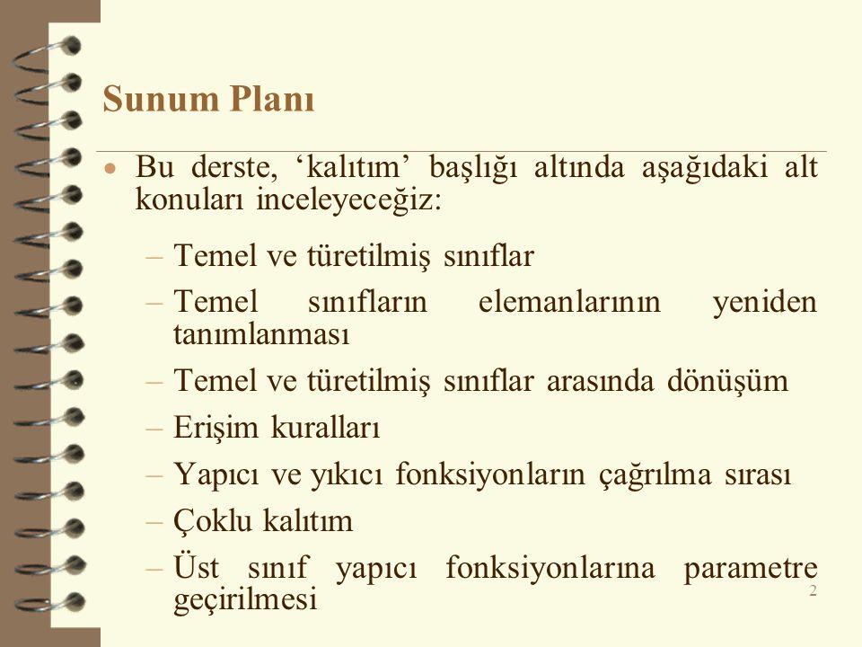 Sunum Planı Bu derste, 'kalıtım' başlığı altında aşağıdaki alt konuları inceleyeceğiz: Temel ve türetilmiş sınıflar.