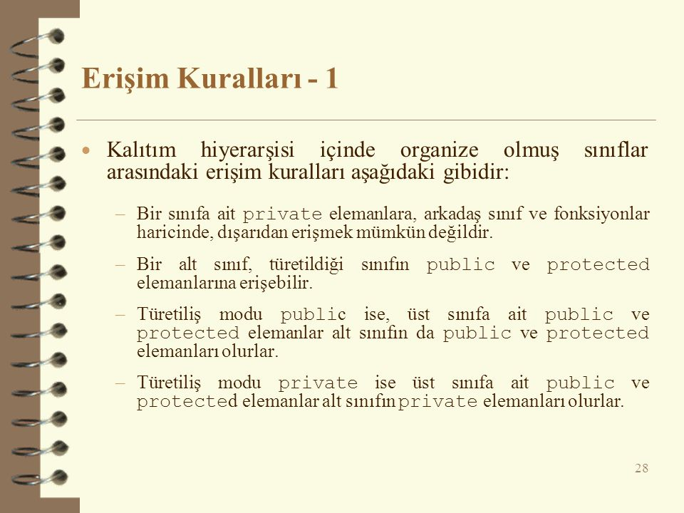 Erişim Kuralları - 1 Kalıtım hiyerarşisi içinde organize olmuş sınıflar arasındaki erişim kuralları aşağıdaki gibidir: