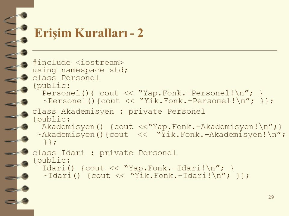 Erişim Kuralları - 2 #include <iostream> using namespace std;