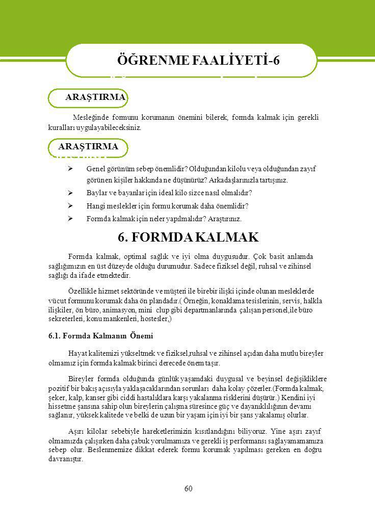 ÖĞRENME FAALİYETİ-6 ARAŞTIRMA. Mesleğinde formunu korumanın önemini bilerek, formda kalmak için gerekli.