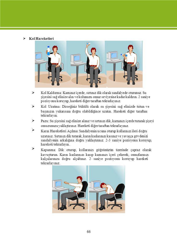  Kol Hareketleri  Kol Kaldırma: Karnınız içerde, sırtınız dik olarak sandalyede oturunuz. Su.