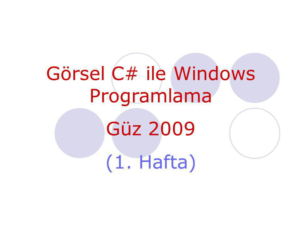 Görsel C# ile Windows Programlama