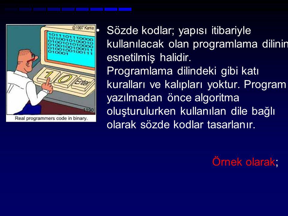 Sözde kodlar; yapısı itibariyle kullanılacak olan programlama dilinin esnetilmiş halidir. Programlama dilindeki gibi katı kuralları ve kalıpları yoktur. Program yazılmadan önce algoritma oluşturulurken kullanılan dile bağlı olarak sözde kodlar tasarlanır.