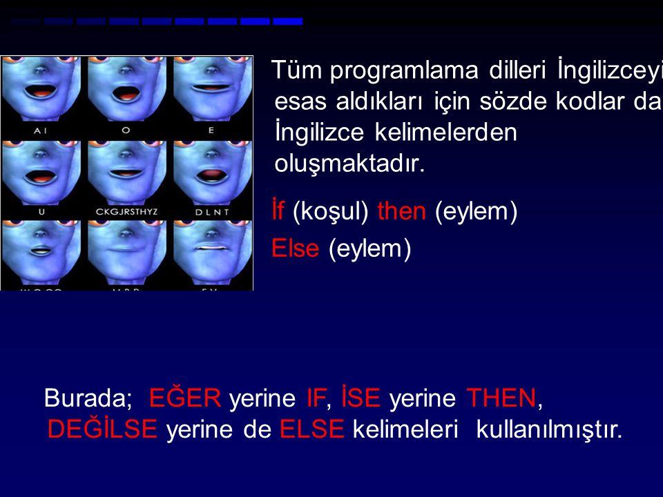 Tüm programlama dilleri İngilizceyi esas aldıkları için sözde kodlar da İngilizce kelimelerden oluşmaktadır.