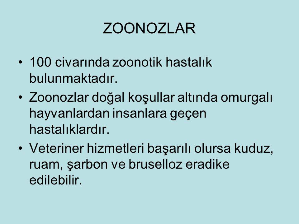 ZOONOZLAR 100 civarında zoonotik hastalık bulunmaktadır.
