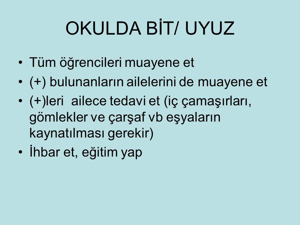 OKULDA BİT/ UYUZ Tüm öğrencileri muayene et
