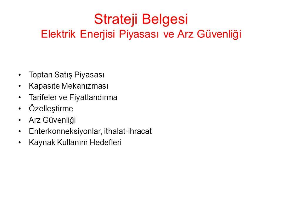Strateji Belgesi Elektrik Enerjisi Piyasası ve Arz Güvenliği