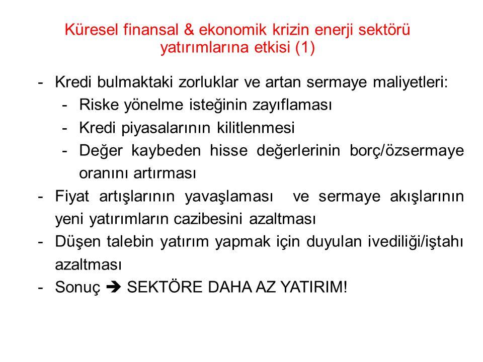 Küresel finansal & ekonomik krizin enerji sektörü yatırımlarına etkisi (1)