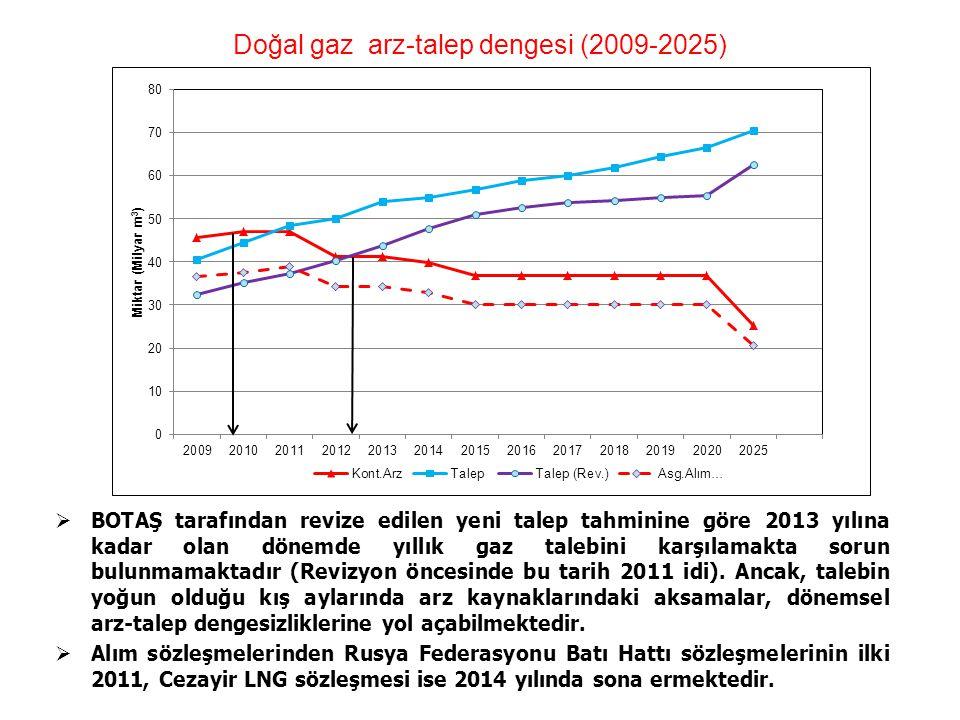 Doğal gaz arz-talep dengesi (2009-2025)