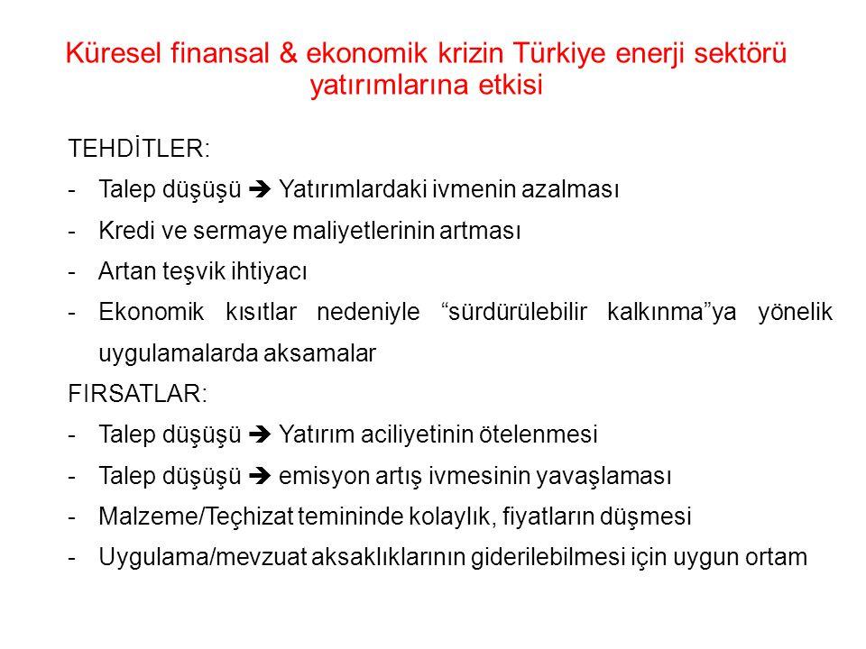 Küresel finansal & ekonomik krizin Türkiye enerji sektörü yatırımlarına etkisi
