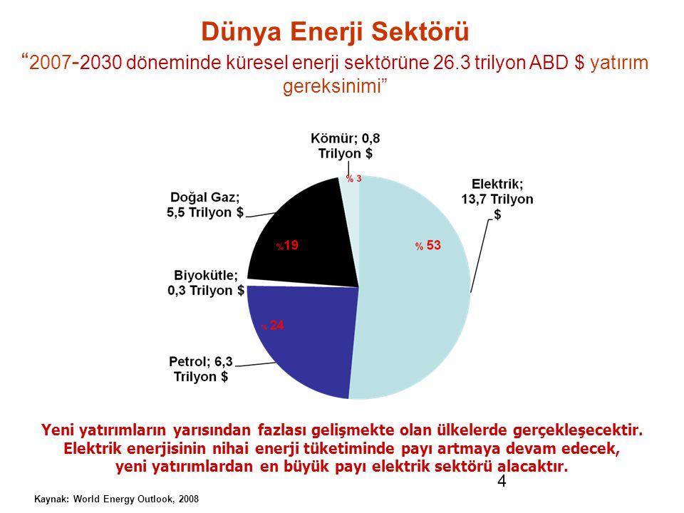 Dünya Enerji Sektörü 2007-2030 döneminde küresel enerji sektörüne 26