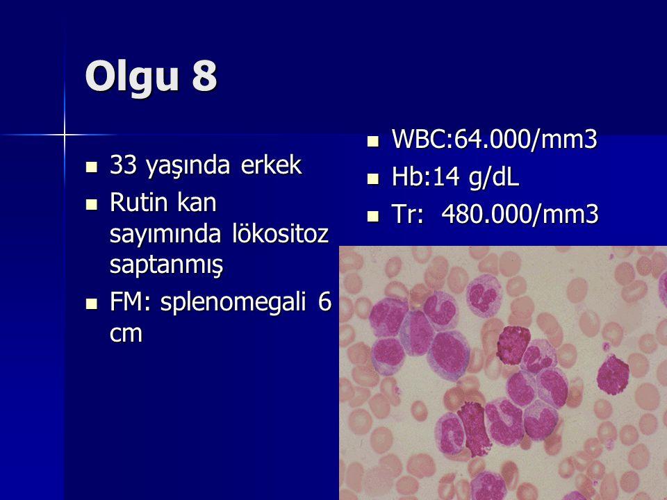 Olgu 8 WBC:64.000/mm3 Hb:14 g/dL 33 yaşında erkek Tr: 480.000/mm3