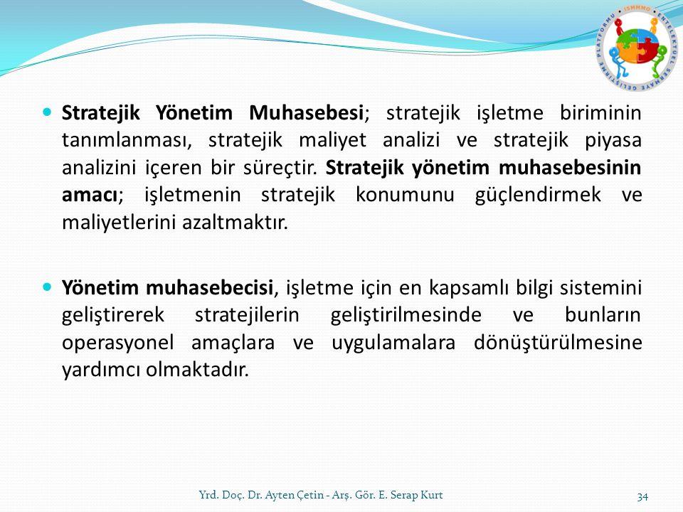 Stratejik Yönetim Muhasebesi; stratejik işletme biriminin tanımlanması, stratejik maliyet analizi ve stratejik piyasa analizini içeren bir süreçtir. Stratejik yönetim muhasebesinin amacı; işletmenin stratejik konumunu güçlendirmek ve maliyetlerini azaltmaktır.
