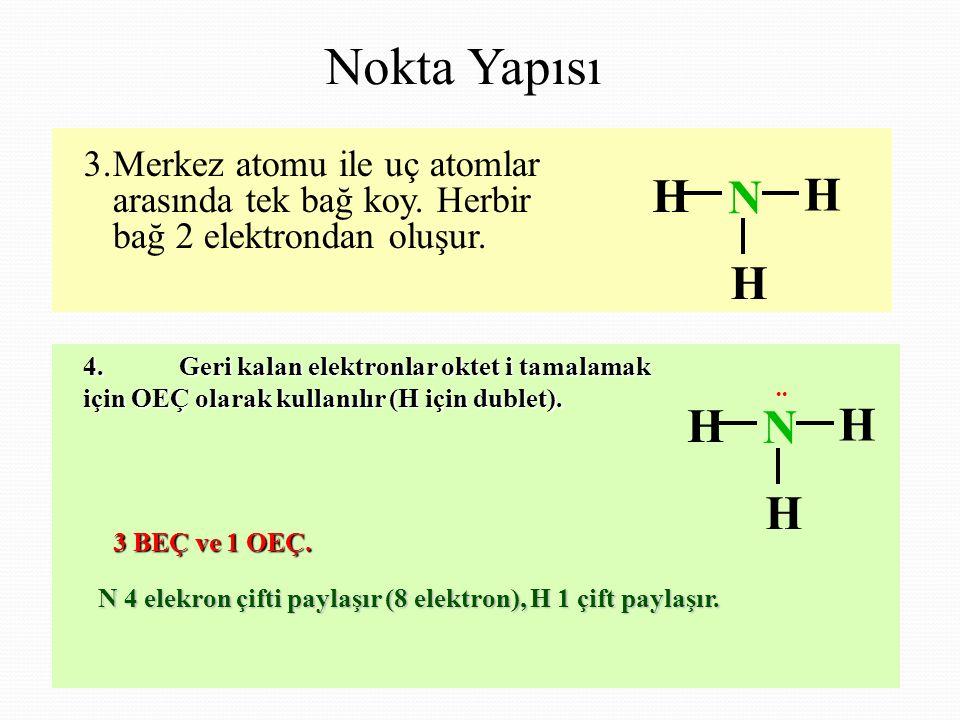 Nokta Yapısı 3. Merkez atomu ile uç atomlar arasında tek bağ koy. Herbir bağ 2 elektrondan oluşur. H.
