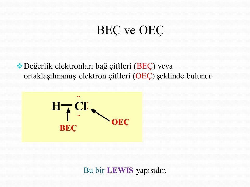 BEÇ ve OEÇ Değerlik elektronları bağ çiftleri (BEÇ) veya ortaklaşılmamış elektron çiftleri (OEÇ) şeklinde bulunur.
