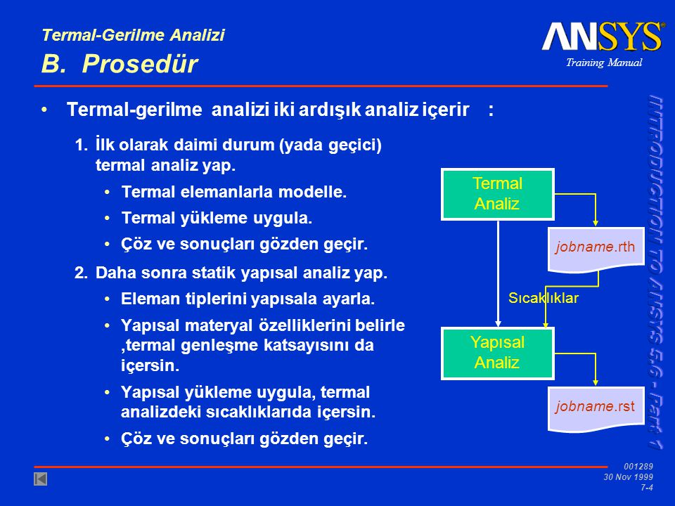 Termal-Gerilme Analizi B. Prosedür