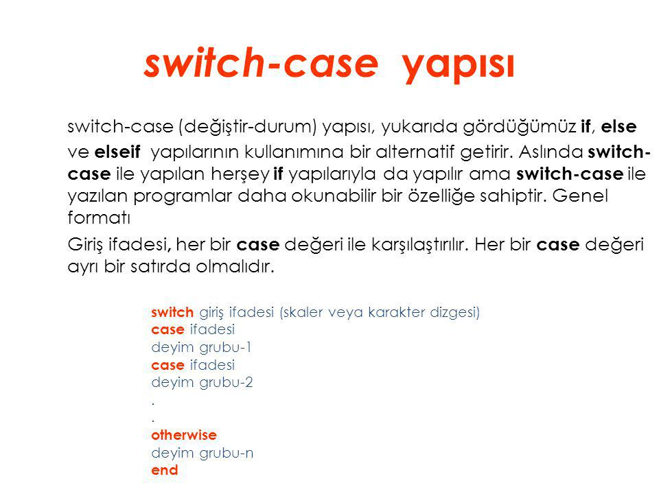 switch-case yapısı