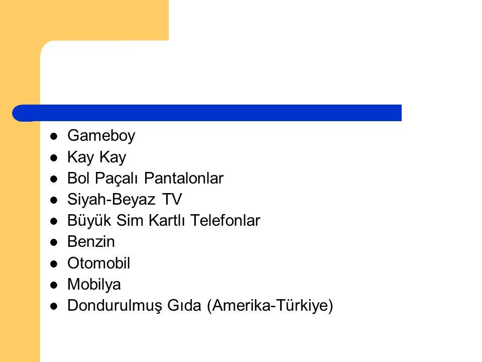 Gameboy Kay Kay. Bol Paçalı Pantalonlar. Siyah-Beyaz TV. Büyük Sim Kartlı Telefonlar. Benzin. Otomobil.