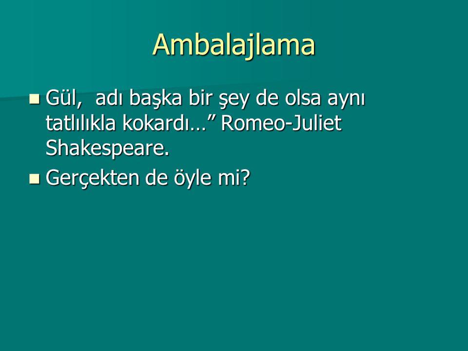 Ambalajlama Gül, adı başka bir şey de olsa aynı tatlılıkla kokardı… Romeo-Juliet Shakespeare.