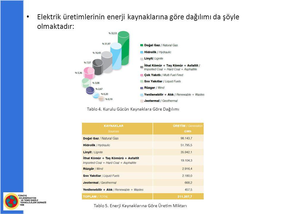 Elektrik üretimlerinin enerji kaynaklarına göre dağılımı da şöyle olmaktadır: