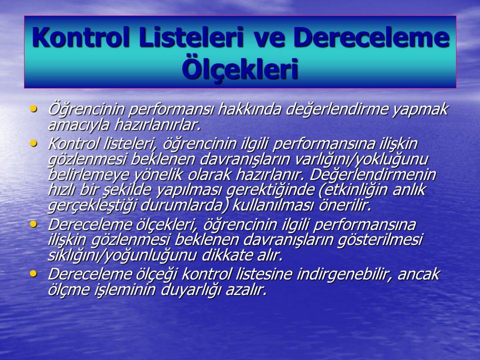 Kontrol Listeleri ve Dereceleme Ölçekleri