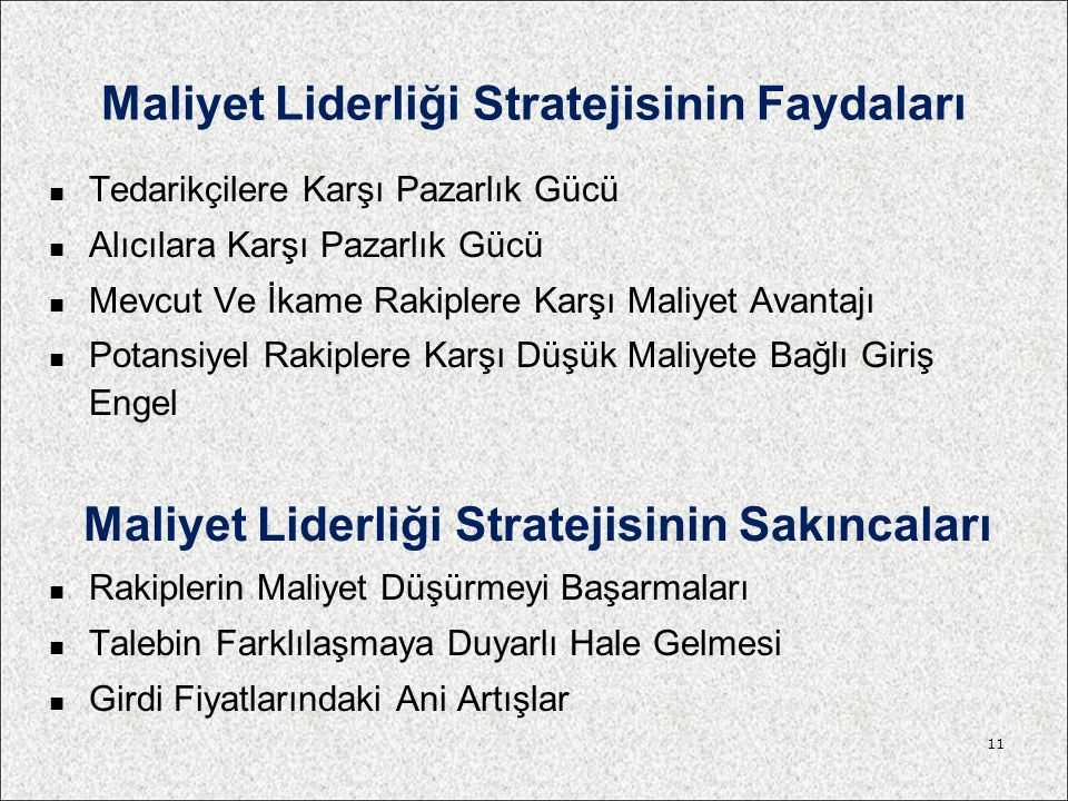 Maliyet Liderliği Stratejisinin Faydaları