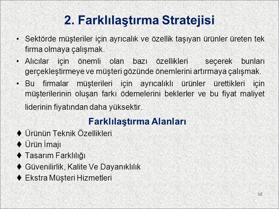 2. Farklılaştırma Stratejisi