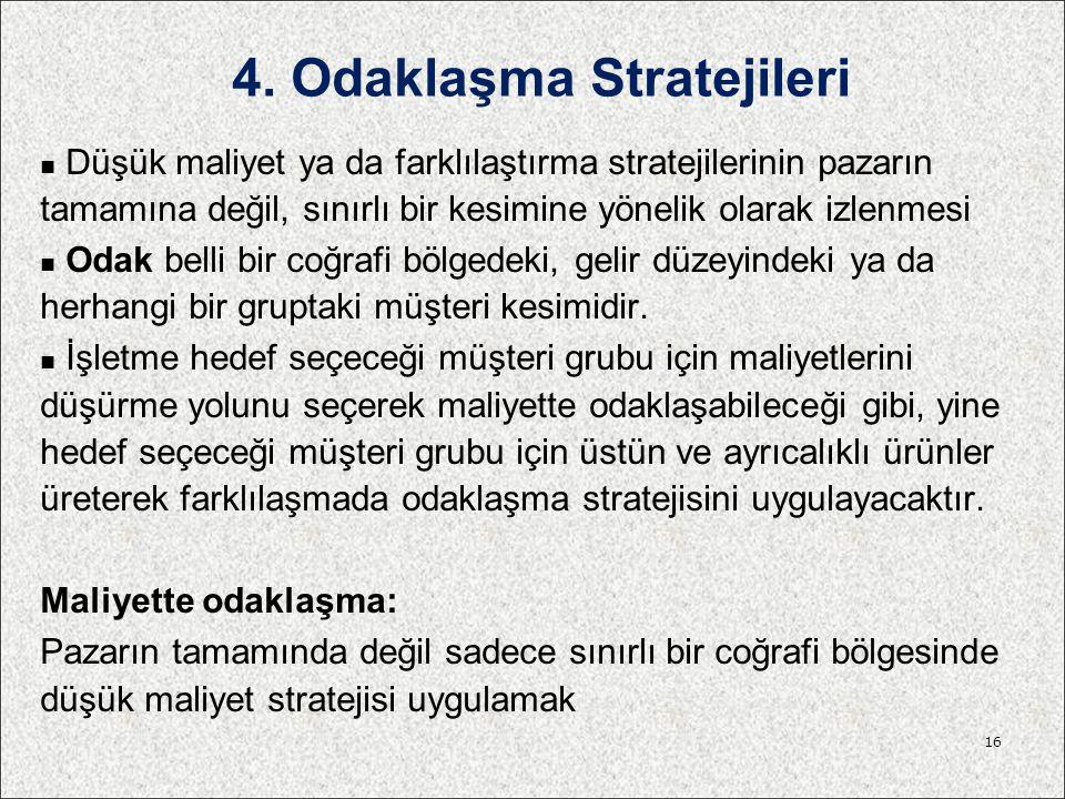 4. Odaklaşma Stratejileri