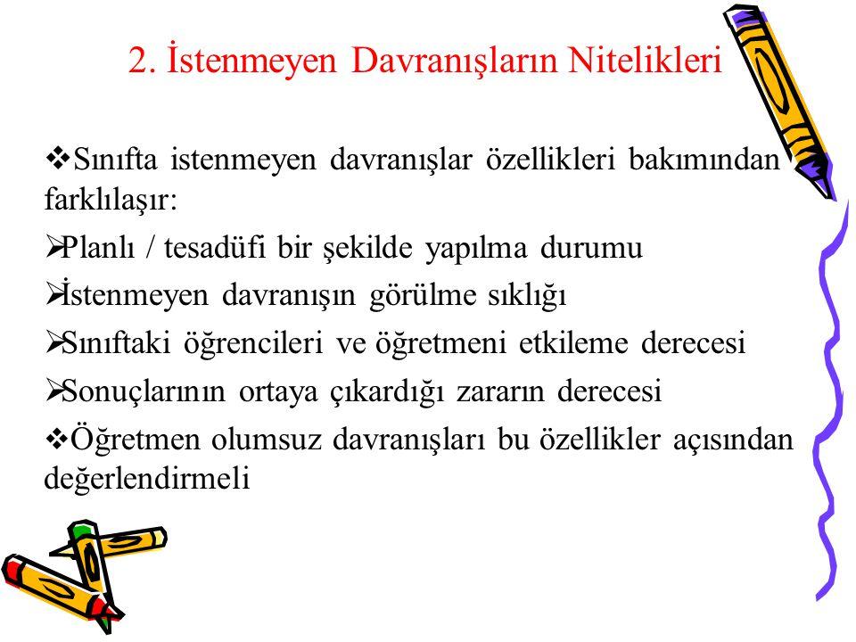 2. İstenmeyen Davranışların Nitelikleri