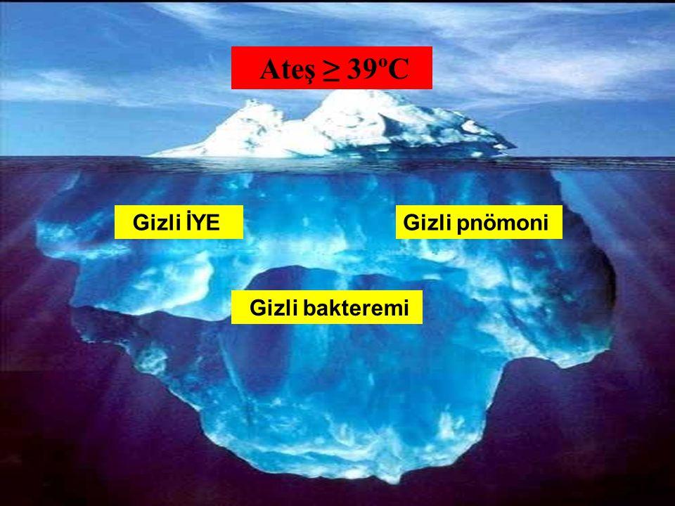 Ateş ≥ 39ºC Gizli İYE Gizli pnömoni Gizli bakteremi
