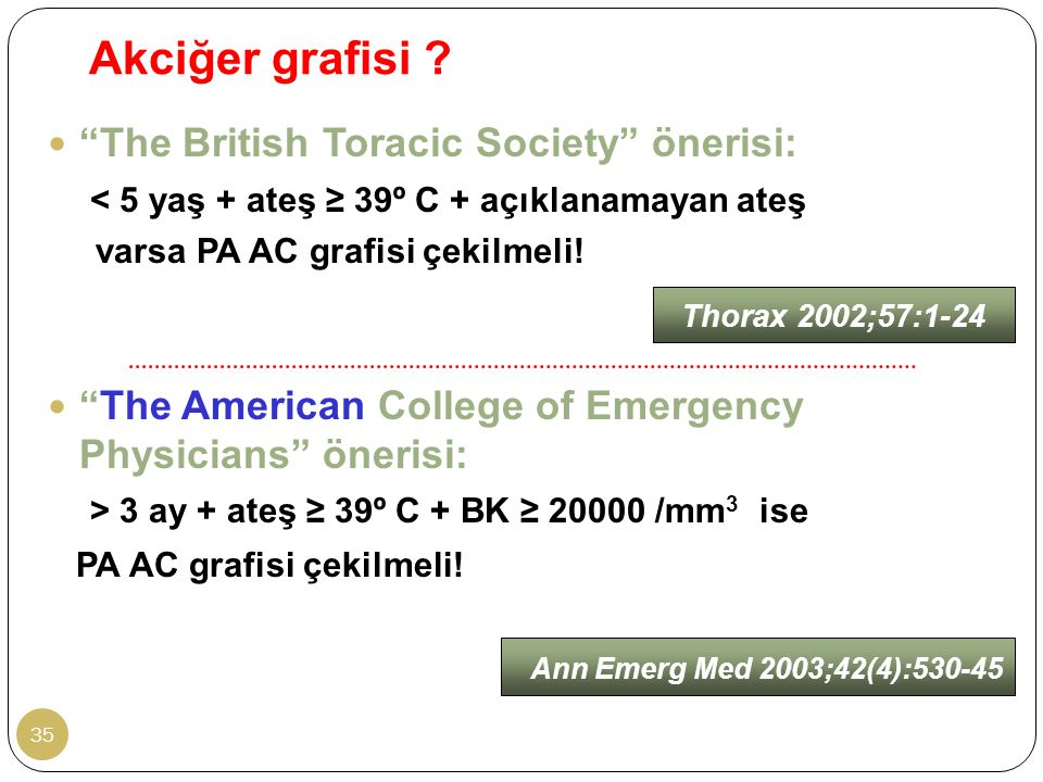 Akciğer grafisi The British Toracic Society önerisi: