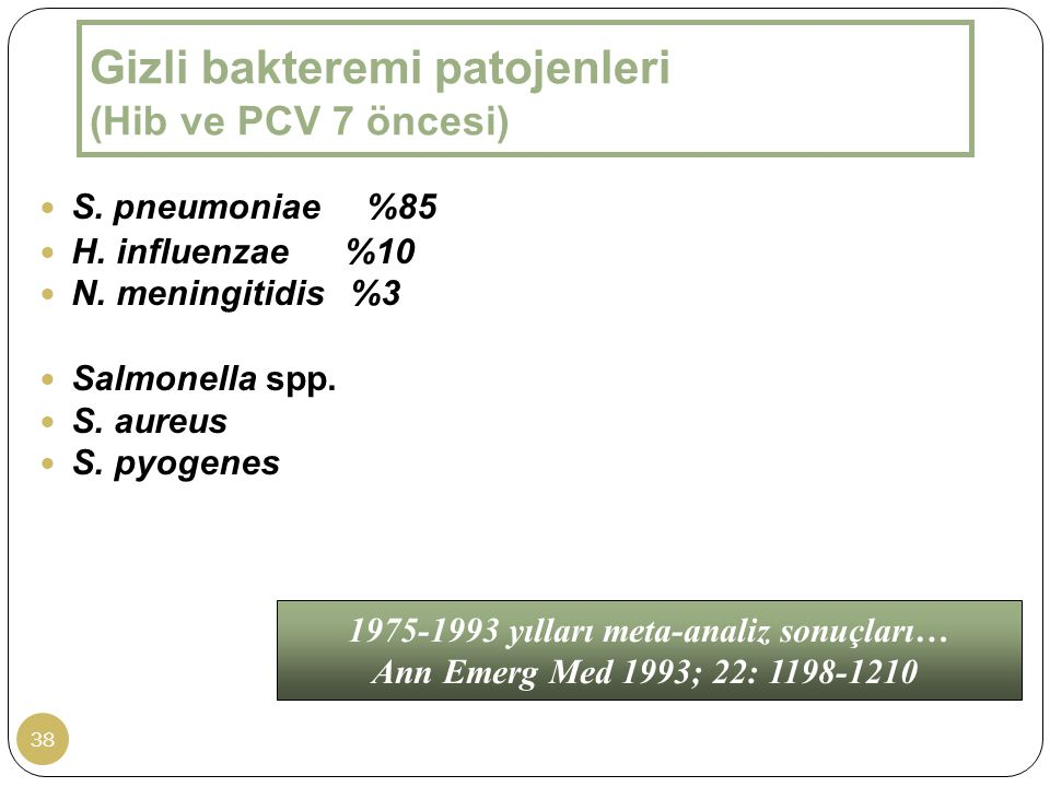 Gizli bakteremi patojenleri (Hib ve PCV 7 öncesi)