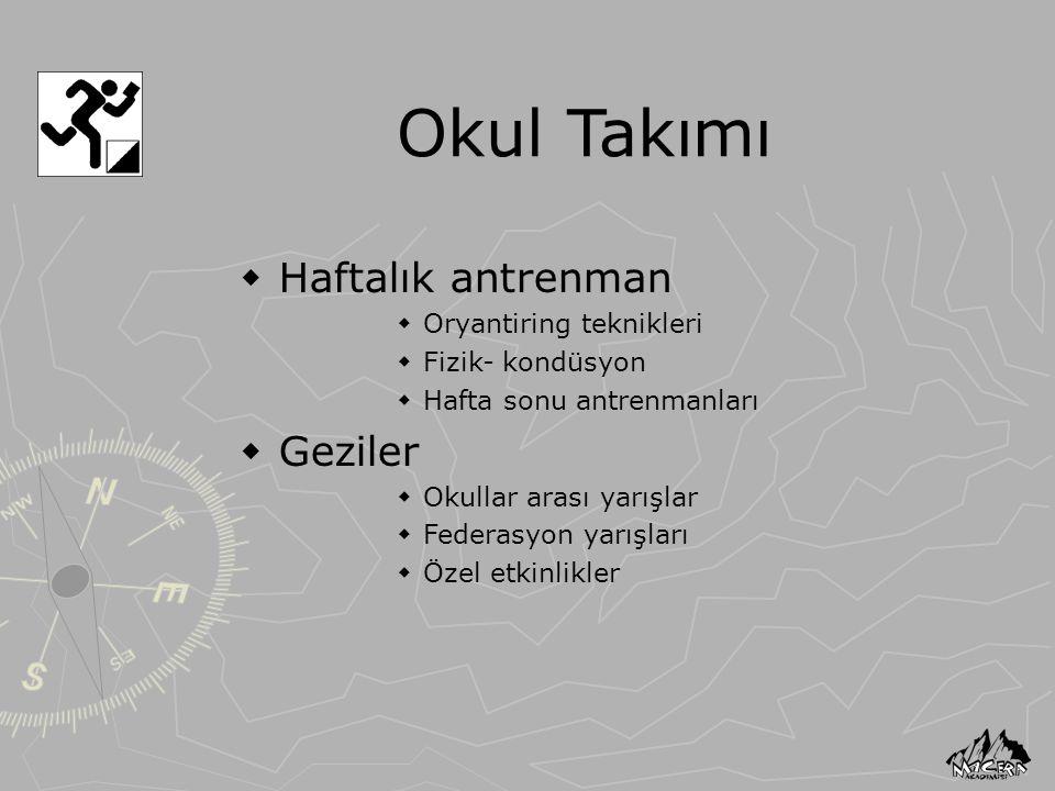 Okul Takımı Haftalık antrenman Geziler Oryantiring teknikleri