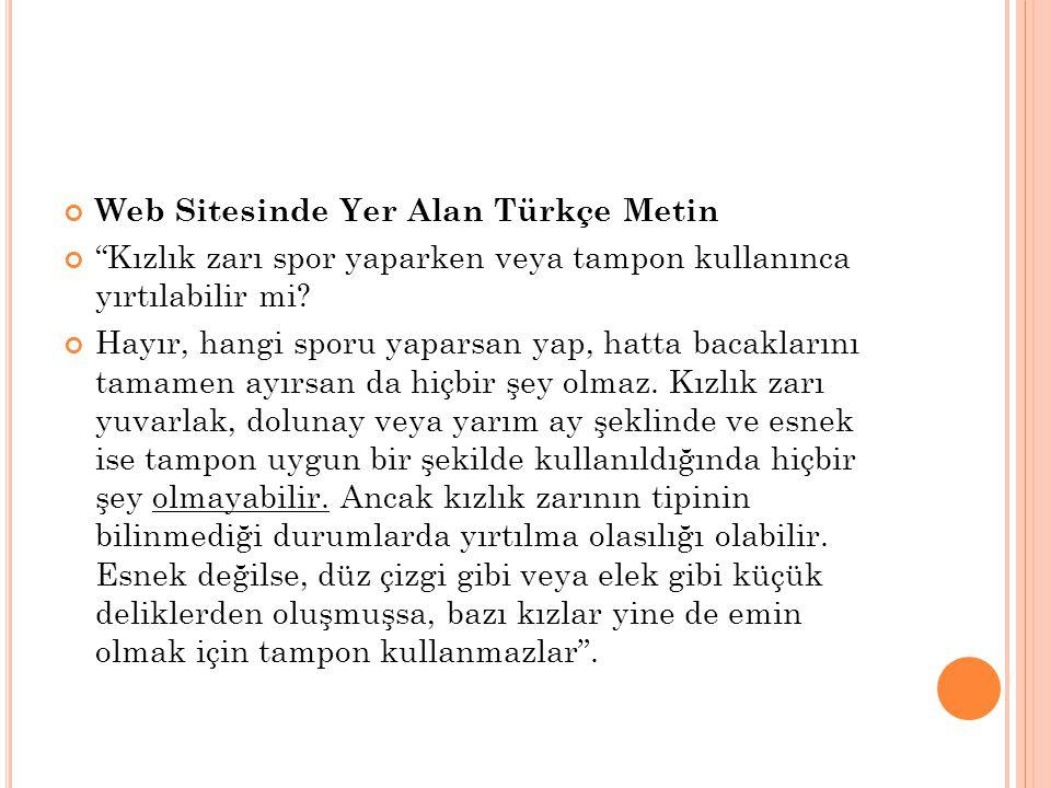 Web Sitesinde Yer Alan Türkçe Metin