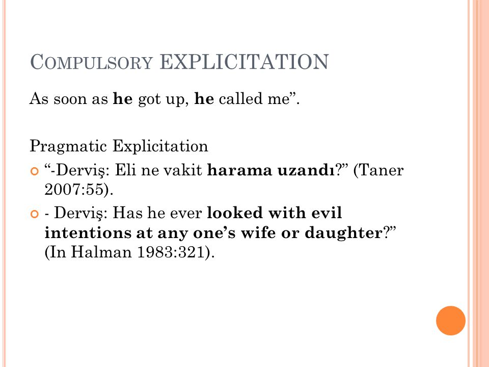 Compulsory EXPLICITATION