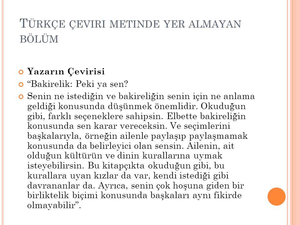 Türkçe çeviri metinde yer almayan bölüm