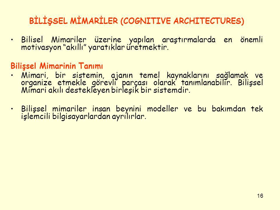 BİLİŞSEL MİMARİLER (COGNITIVE ARCHITECTURES)