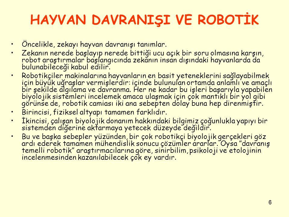 HAYVAN DAVRANIŞI VE ROBOTİK