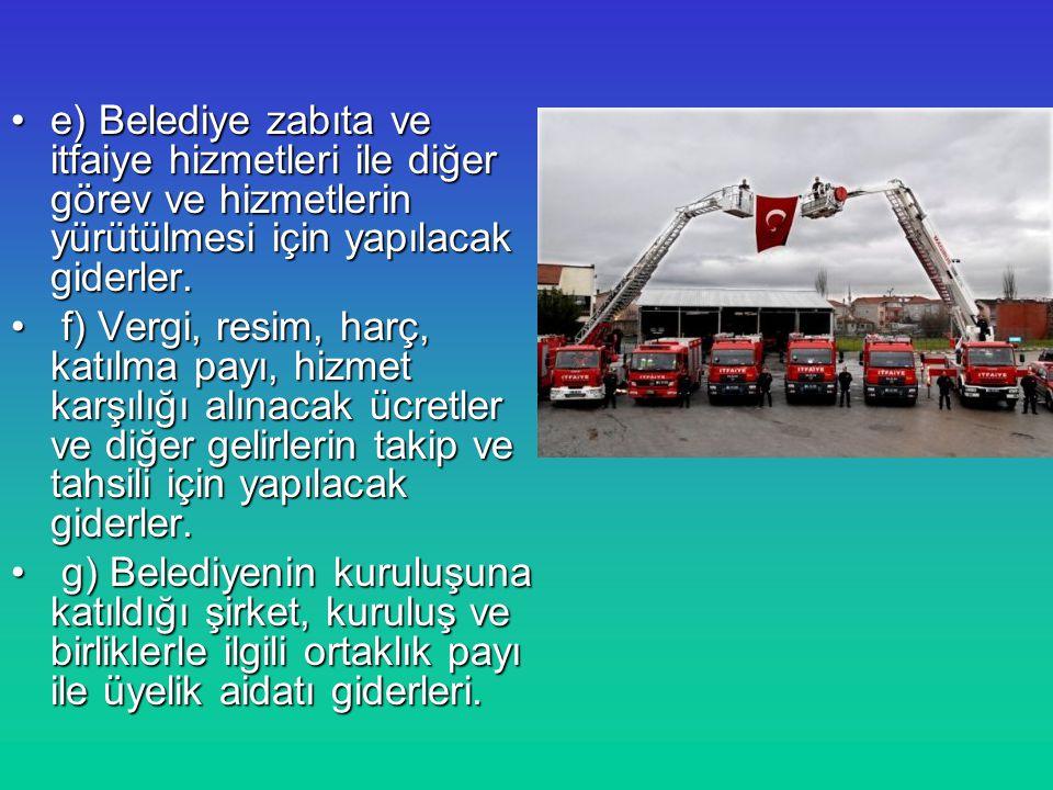 e) Belediye zabıta ve itfaiye hizmetleri ile diğer görev ve hizmetlerin yürütülmesi için yapılacak giderler.