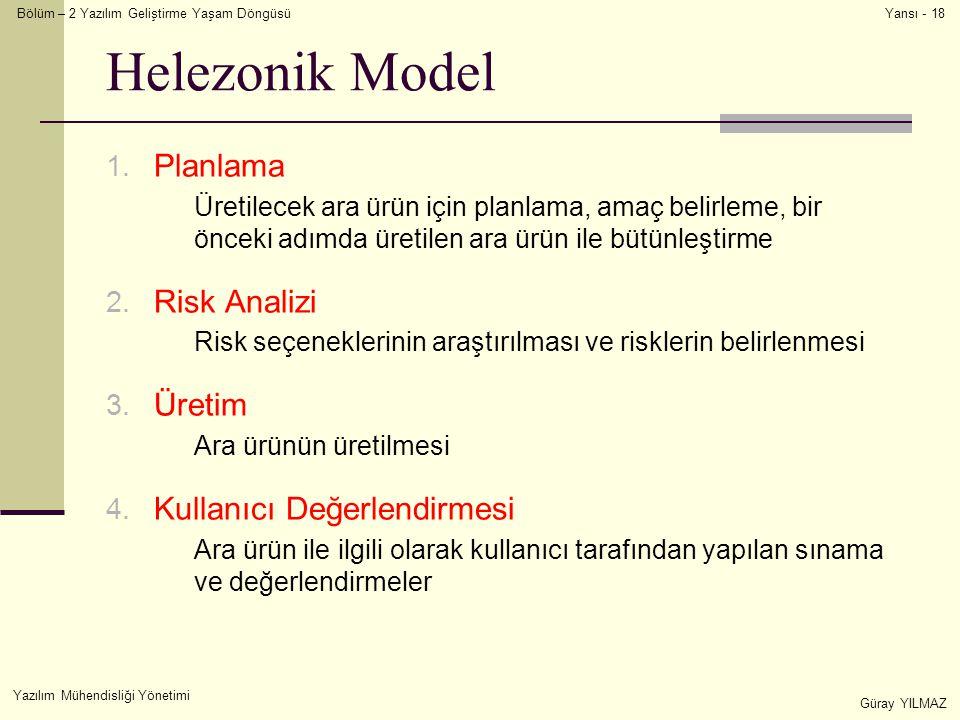 Helezonik Model Planlama Risk Analizi Üretim Kullanıcı Değerlendirmesi