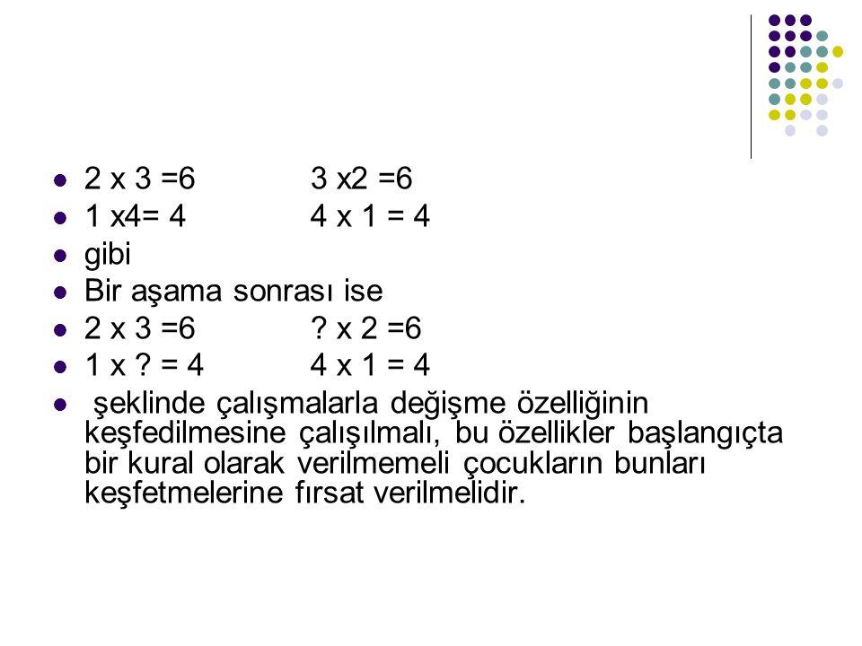 2 x 3 =6 3 x2 =6 1 x4= 4 4 x 1 = 4. gibi. Bir aşama sonrası ise. 2 x 3 =6 x 2 =6. 1 x = 4 4 x 1 = 4.