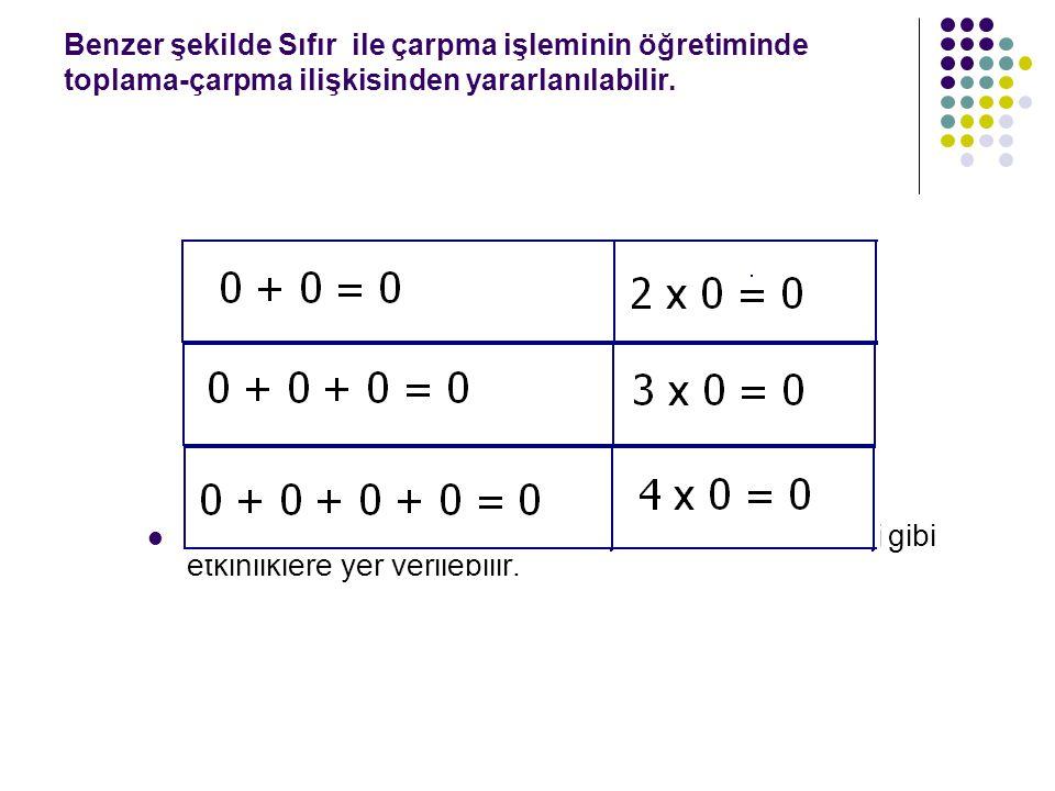 Benzer şekilde Sıfır ile çarpma işleminin öğretiminde toplama-çarpma ilişkisinden yararlanılabilir.