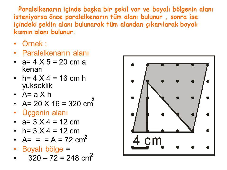 Örnek : Paralelkenarın alanı a= 4 X 5 = 20 cm a kenarı