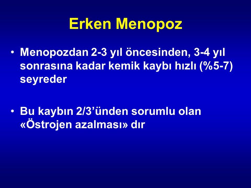 Erken Menopoz Menopozdan 2-3 yıl öncesinden, 3-4 yıl sonrasına kadar kemik kaybı hızlı (%5-7) seyreder.