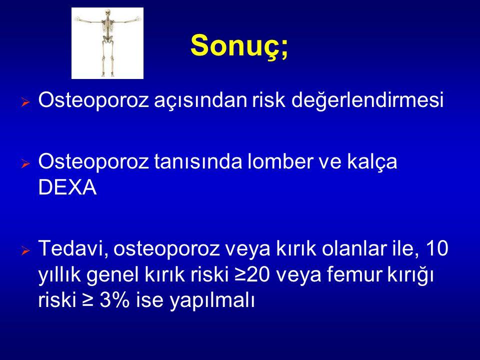 Sonuç; Osteoporoz açısından risk değerlendirmesi