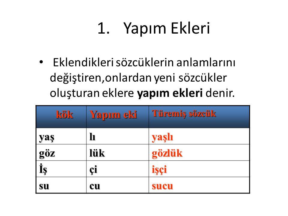 Yapım Ekleri Eklendikleri sözcüklerin anlamlarını değiştiren,onlardan yeni sözcükler oluşturan eklere yapım ekleri denir.